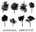 trees silhouette collection in... | Shutterstock . vector #1088151743