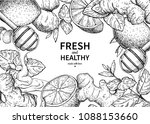 honey  ginger  lemon and mint... | Shutterstock .eps vector #1088153660