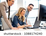 group of business people and... | Shutterstock . vector #1088174240