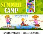 children enjoying summer camp... | Shutterstock .eps vector #1088185088