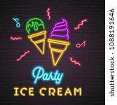 ice cream party summer neon... | Shutterstock .eps vector #1088191646