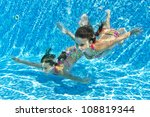 happy smiling underwater... | Shutterstock . vector #108819344