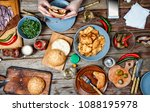 dinner outdoor table with... | Shutterstock . vector #1088195978