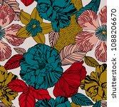 seamless summer flower  plant...   Shutterstock .eps vector #1088206670