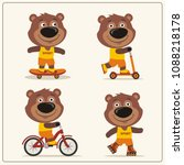 set of isolated funny teddy... | Shutterstock .eps vector #1088218178