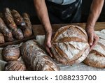 homemade sourdough bread food... | Shutterstock . vector #1088233700