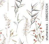 watercolor dry herbs seamless... | Shutterstock . vector #1088235224