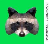 low poly racoon head | Shutterstock .eps vector #1088240978
