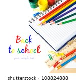 School stationery on the white with copy space - stock photo