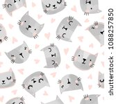 Stock vector cats seamless vector pattern with hearts cute hand drawn kitten faces valentines day 1088257850
