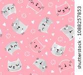 cat vector seamless pattern... | Shutterstock .eps vector #1088257853