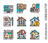 9 vector flat real estate icons ...