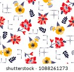 flowers pattern with decorative ...   Shutterstock .eps vector #1088261273