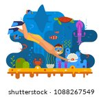 pearl diving concept... | Shutterstock . vector #1088267549