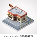 vector isometric fast food cafe | Shutterstock .eps vector #108828794