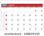 march 2013 planning calendar | Shutterstock .eps vector #108829100
