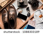 top view of various travelling...   Shutterstock . vector #1088303189