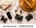 top view of traveller... | Shutterstock . vector #1088303228