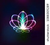 neon vector flower  light lotus.... | Shutterstock .eps vector #1088305289