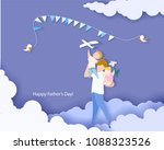 Stock vector handsome man with his children happy fathers day card paper cut style vector illustration 1088323526