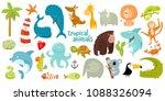 big set of vector animals.... | Shutterstock .eps vector #1088326094