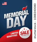 memorial day sale banner layout ... | Shutterstock .eps vector #1088340080
