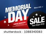 memorial day sale banner layout ... | Shutterstock .eps vector #1088340083