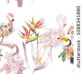 silhouette tropic exotic... | Shutterstock . vector #1088341880