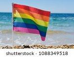 closeup of a small rainbow flag ... | Shutterstock . vector #1088349518