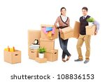 young male and female packing... | Shutterstock . vector #108836153