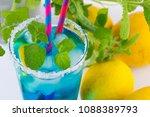 blue curacao refreshing drink... | Shutterstock . vector #1088389793