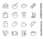 breakfast vector icons set ... | Shutterstock .eps vector #1088391890