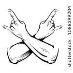 crossed hands with rock n roll... | Shutterstock .eps vector #1088399204