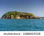 island with blue sky and ocean. | Shutterstock . vector #1088405528
