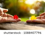 left hand holding red and...   Shutterstock . vector #1088407796