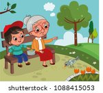 grandmother and grandson are in ... | Shutterstock .eps vector #1088415053