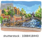 bicycles on bridge over the... | Shutterstock .eps vector #1088418443