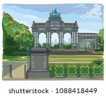 the triumphal arch in the park... | Shutterstock .eps vector #1088418449