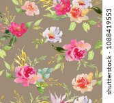 wedding bridal bouquet seamless ... | Shutterstock . vector #1088419553