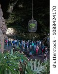 Small photo of LANZAROTE, SPAIN - MAY 1, 2018: visitors inside the Jameos del Agua, one of the main tourist attractions of the island