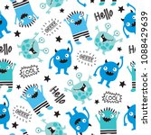 Seamless Cool Monsters Pattern...