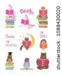 set of animals reading books on ...   Shutterstock .eps vector #1088430020