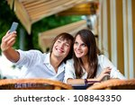 couple on a date in summer cafe ... | Shutterstock . vector #108843350