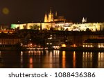 night scenery of prague  czech... | Shutterstock . vector #1088436386