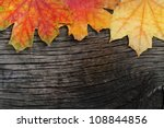 Autumn Wooden Background With...