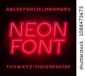 red neon tube alphabet font.... | Shutterstock .eps vector #1088473673