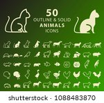 set of 50 outline and solid... | Shutterstock .eps vector #1088483870