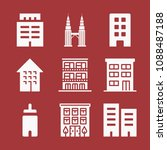 filled set of 9 apartment icons ... | Shutterstock .eps vector #1088487188