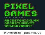 pixel look vector font design ... | Shutterstock .eps vector #1088490779