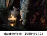 selective focus. white candle... | Shutterstock . vector #1088498723